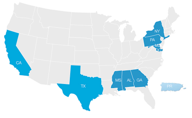 map highlighting NCAS-M partners